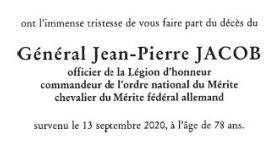 Faire part de décès | Général Jean-Pierre JACOB